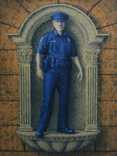 Alexi Torres, police prayer, policeman, meditation, law enforcement, blue lives matter, knitted oil painting, cops, painting