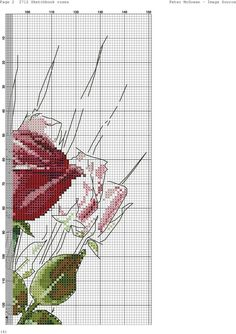 Roses in Vase 3 Cross Stitch Floss, Cross Stitch Art, Cross Stitch Designs, Cross Stitching, Cross Stitch Embroidery, Cross Stitch Patterns, Floral, Wall Photos, Glass Vase