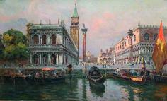 Piazzetta of San Marco, Venice - Antonio Reyna Manescau Venice Painting, Spanish Art, Watercolor Pictures, Grand Tour, Renoir, Monet, Tours, Landscape, Artwork