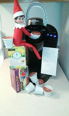My version. Elf on the shelf ideas. She was tired this morning. Needed that coffee ☺ Day 2 2015