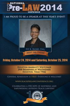 Meet Ivy K. Banks, Esq., Director, Student Services, The University of Akron School of Law (Akron, Ohio), at the 10th Annual National Black Pre-Law Conference and Law Fair 2014 on Friday, October 24, 2014 and Saturday, October 25, 2014 at the Houston Marriott Westchase in Houston, Texas.   Free of charge! Everyone is welcome! Register today! www.blackprelawconference.org/ #blackprelawconference #lawyerssupportingfuturelawyers