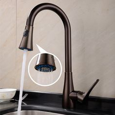 Traditional Pullout Spray Brass Oil-rubbed Bronze Kitchen Faucet  At FaucetsDeal.com