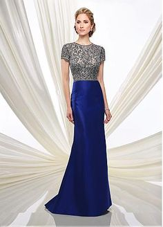 Charming Tulle & Satin Jewel Neckline Mermaid Mermaid Mother Of The Bride Dresses With Beaded Embroidery