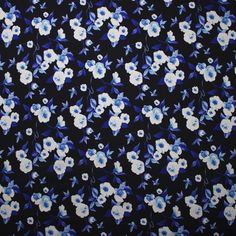 Cali Fabrics | Blue and White Floral Print Double Brushed Poly Spandex Knit Print