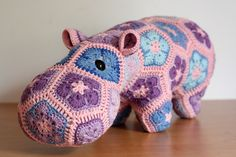 Happypotamus the Happy Hippo, African flower crochet toy. Pattern by Heidi Bears design.