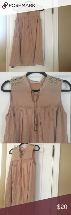 Tan Lace Shoulder Crinkle Tunic Tan, Lace Shoulders & Upper Back, Cute Tie-front, Small Ruffle, Bead Tie Accent, Crinkle Long Tunic, Great for Leggings, Brand New (w/out tags) not worn. Tops Tunics
