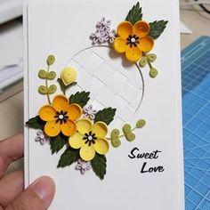 #종이 #종이감기공예 #종이감기 #꽃 #카드 #작품 #취미 #paperquilling #paper #quilling #flower #flowers #card #yellow #yellowflower #카드 만들기는 언제나 재밌다~~♡
