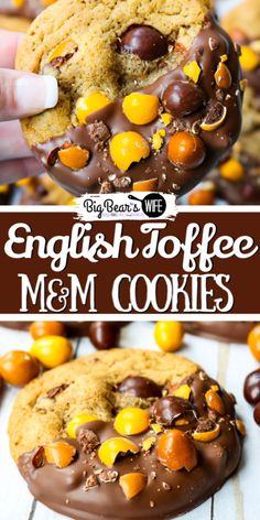 These homemade Chocolate Dipped English Toffee Peanut MM Cookies are incredibly soft, packed with chocolate chips and feature the new English Toffee MMs! Slow Cooker Recipes Dessert, Best Dessert Recipes, Veggie Recipes, Fun Desserts, Easy Dinner Recipes, Delicious Desserts, Easy Meals, Cooking Recipes, Veggie Food