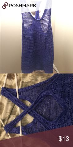 NWOT - blue holy tank top Holy tank top - crisscross back with key hole - never been worn - still has M sticker on it American Eagle Outfitters Tops Tank Tops
