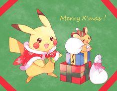 Merry X, mas! From Pikachu and Dedenne First Pokemon, Type Pokemon, Pokemon Special, Pokemon Fan Art, New Pokemon, Pikachu Raichu, Cute Pikachu, Christmas Pokemon, Christmas Art