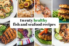 Twenty healthy fish and seafood recipes - slender kitchen. Seafood Dinner, Fish And Seafood, Healthy Dinner Recipes, Healthy Snacks, Eggplant Dishes, Slender Kitchen, Healthiest Seafood, Summer Meal Planning, Food Website