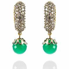 Reena Earrings http://blossomboxjewelry.com/e1311.html #jewelry #indian #fashion #style #bollywood #designer #earrings #emerald