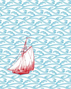 Cute idea to paste a sailboat on a print blue wallpaper like it is the open seas. Could also add little Islands.