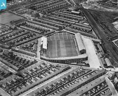 """View of Sunderland's former home at Roker Park in 1936 Middlesbrough Fc, British Football, European Football, Sunderland Afc, Bristol Rovers, Victorian Buildings, London History, Football Pictures, Football Stadiums"