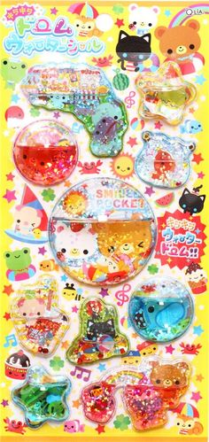 kawaii frog cat bear animal 3D water capsule stickers