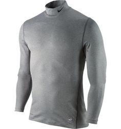 Nike Men's Pro Combat Core Underlayer Mock Long Sleeve Golf Shirt | Carbon Heather