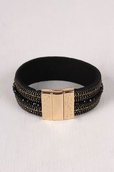 Magnetic Vegan Suede Embellished Cuff