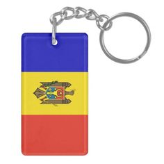 Flag of Moldova Double-Sided Rectangular Acrylic Key Ring