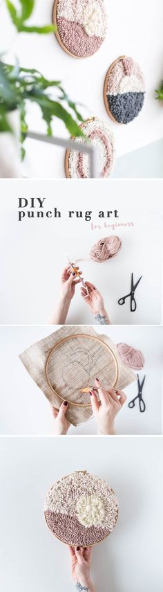 Make your own DIY Punch Rug Artwork for Beginners to create easy and unique wall art for your home. Click through for the tutorial! DIY Punch Rug Artwork for Beginners Tutorial Embroidery Patterns, Hand Embroidery, Embroidery Hoops, Crochet Patterns, Yarn Crafts, Diy And Crafts, Rug Texture, Diy Inspiration, Arts And Crafts Movement