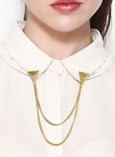 Gold Statement - Pyramid Stud Collar Clips