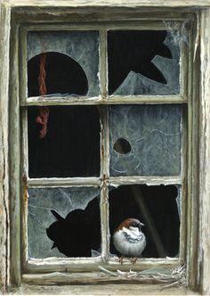 broken window sparrow by Jeremy Paul
