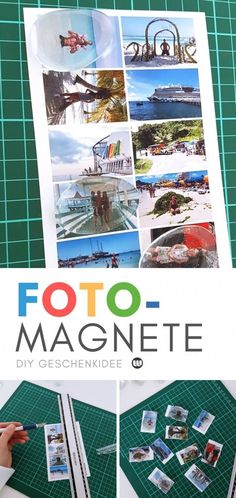 Make and design the photo magnets yourself. Simple instructions for a homemade photo gift. Diy Foto, Photo Magnets, Diys, Photo Gifts, Diy Crafts, Homemade, Baseball Cards, Cool Stuff, Simple