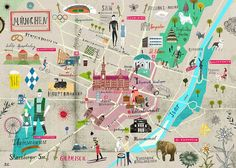 Martin Haake's map of Munich and the city's most interesting places from A Map of the World, Copyright Gestalten 2013 Illustration Agency, Travel Illustration, Map Illustrations, Travel Maps, Travel Posters, Places To Travel, München City, Munich Germany, Map Design