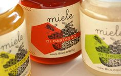 100% Biologico / Food Labels by Marina Lombardi, via Behance Beautiful #honey #packaging illustrations PD