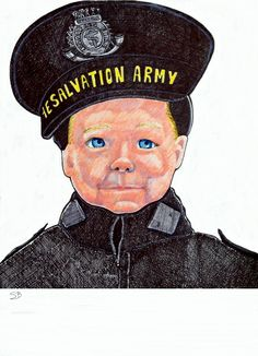 Carrying on the Tradition (1) a boy wearing adult Salvation Army uniform, but his portrait.  refer to www.suzanne-berton.com art Thank you Stan Burditt of MAST for letting me draw your photos.