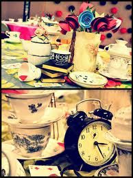 alice in wonderland decoration party - Buscar con Google. ideas for table decor. start searching for clocks, keys and tea cups.