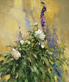 Peonies and delphiniums - Alexi Zaitsev - Sale of paintings and other art works Oil Painting Flowers, Abstract Flowers, Painting Abstract, Flower Art, Art Flowers, Delphinium, Garden Art, Still Life, Peonies
