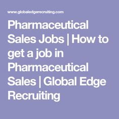 how to get a pharmaceutical job