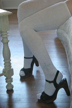 White thigh socks and strappy open toe sandals