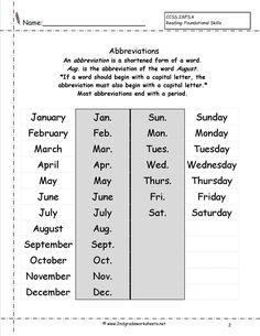 Abbreviations Practice | Free worksheets, Worksheets and Language