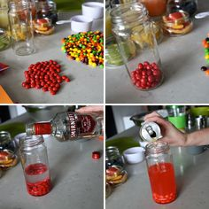 The Skittle-tini: Put red skittles into a glass, add vodka and a splash of a red bull. Let sit until the vodka turns red, then shake. Party Drinks, Cocktail Drinks, Fun Drinks, Yummy Drinks, Alcoholic Drinks, Red Bull Drinks, Summertime Drinks, Drinks Alcohol Recipes, Food Crafts