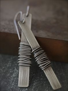 Industrial and funky extra long rectangle silver wire wrapped earrings