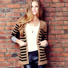 Striped Cardigan Black Multi, $59, now featured on Fab.