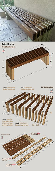 We picked these 4 modern outdoor bench plans for your next DIY project. Woodworking Projects Diy, Diy Wood Projects, Woodworking Plans, Bench Plans, Wood Plans, Diy Outdoor Furniture, Diy Furniture, Diy Bank, Patio Design