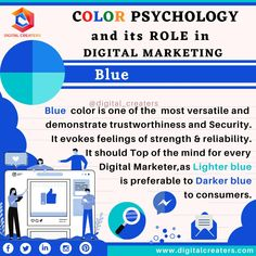 Color psychology and it's role in digital marketing: Blue the trustworthy: Blue is the colour that evokes feeling of trust, strength, and reliability. Big brands like Facebook, Intel, ford etc uses Blue color. For digital marketing and social media marketing services contact us. #digitalmatketing #blue #bluecolor #psycgology #trust #contentmarketing #socialmediamarketing #colorpsychology #security #strength #digitalcreaters #searchengineoptimization #SEM #marketing #webdesign