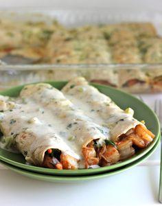 Roasted Shrimp Enchiladas with Jalapeño Cream Sauce.