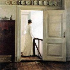 Carl Vilhelm Holsoe (Danish artist, Woman on the Stairs. This painting is very creepy for some reason. The Piano, Illustration Art, Illustrations, Interior Paint, Beautiful Paintings, Love Art, Art History, Painting & Drawing, Light Painting