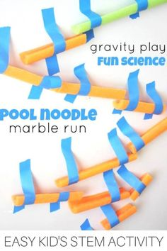 G is for gravity Build a pool noodle marble run for kids STEM activities and engineering projects. School Age Activities, Steam Activities, Indoor Activities, Science Activities, Activities For Kids, Science Experiments, Montessori Activities, Activity Ideas, Educational Activities