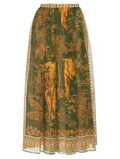 Elephant-print cotton-muslin maxi skirt | Valentino | MATCHESFASHION.COM US