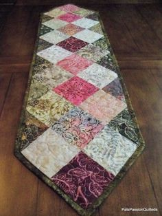 Batik Patchwork Quilted Table Runner Spring Greens Pinks Creams from Picsity.com