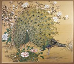 Two Peacocks and Flowers by Nishiyama Hôen (Japanese), Century (no date), ink and colors on silk two-fold screen, genre: Shijo School, Edo Period Japanese Ink Painting, Japanese Art, Ganesh Photo, Art Quiz, Mughal Paintings, Peacock Art, Animal Paintings, Ink Paintings, Zen Art