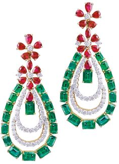 Gemfields' Farah Khan earrings with 20.58ct of Zambian emeralds and 9ct of rubies.     Via The Jewellery Editor.