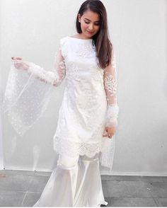 White lace gharara