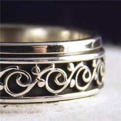 US 6 1/4 ~ 925 Sterling Silver Narrow Filigree SilverSari SPIN SPINNER RING #SilverSari
