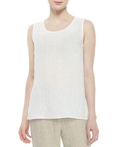 Long Crinkled Linen Tank, White, Petite, Women's, Size: PL (12/14) - Caroline Rose