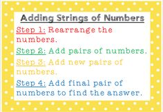 A poster with the steps on how to add strings of numbers. When using this resource in my classroom, my students chant the steps and the poster is displayed on the board.